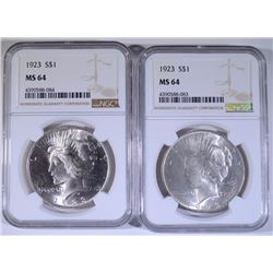 2 - 1923 PEACE SILVER DOLLARS NGC MS64