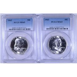 2 - 1963 FRANKLIN HALF DOLLARS - PCGS MS65