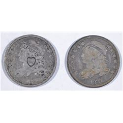 2-1831 BUST DIMES: 1 IS VG & 1-FINE WITH HEART COUNTERSTAMP