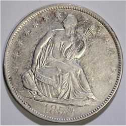 1858-O SEATED HALF DOLLAR, NICE XF/AU