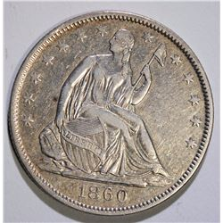 1860-O SEATED HALF DOLLAR, NICE XF/AU