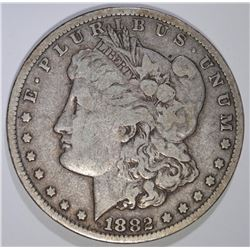1882-CC MORGAN SILVER DOLLAR, FINE mark reverse