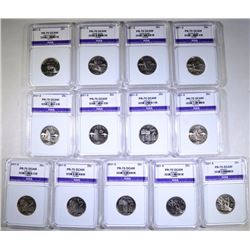 2001-S STATE QT LOT; 13 COINS - ALL ICGA PERFECT GEM PROOF DCAM, 1- NC, 6- RI,