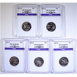 2002-S STATE QUARTER SET (5 COINS) ALL PERFECT GEM PROOF ICGA DCAM