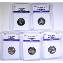 2004-S STATE QUARTER SET (5 COINS) ALL ICGA PERFECT GEM PROOF DEEP CAMEO
