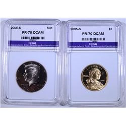 2005-S SACAGEWA DOLLAR & 2005-S KENNEDY HALF DOLLAR BOTH PERFECT GEM PROOF DCAM
