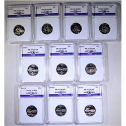 2005-S STATE QUARTERS (10 COINS) ALL PERFECT GEM PROOF DCAM