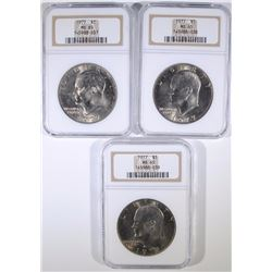 ( 3 ) 1977 EISENHOWER DOLLARS, NGC MS-65