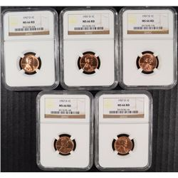 5 1957-D LINCOLN CENTS NGC MS 66 REDS