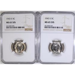 (2) 1943-S JEFFERSON SILVER NICKELS NGC MS65  5 FULL STEPS