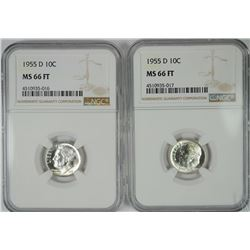 ( 2 ) 1955-D ROOSEVELT DIMES, NGC MS-66 FULL TORCH