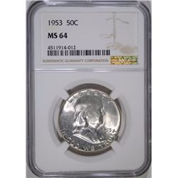 1953 FRANKLIN HALF DOLLAR, NGC MS-64