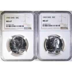 2 - 1965 SMS KENNEDY HALF DOLLARS - NGC MS67
