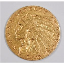 1908 $2.50 GOLD INDIAN, XF/AU