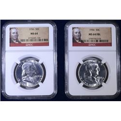 1956 MS64 & 1956 MS 64 FBL NGC FRANKLIN HALF DOLLAR SET