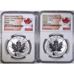 2 2016 CANADA SILVER DOLLARS MAPLE LEAF PANDA PRVY-REVERSE PROOF NGC PF 69