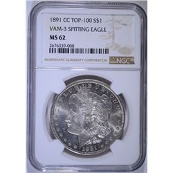 1891-CC MORGAN SILVER DOLLAR NGC MS 62 VAM-3 SPITTING EAGLE
