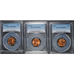 LOT OF ( 3 ) LINCOLN CENTS PCGS GRADED MS-66 RED: 1944, 53-D & 56-D