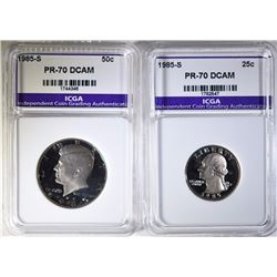 1985-S WASHINGTON QTR & 1985-S KENNEDY HALF BOTH PERFECT GEM PROOF ICGA DCAM