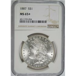 1887 MORGAN SILVER DOLLAR, NGC MS-65+