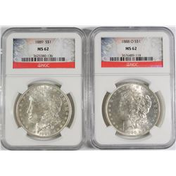 1888-O & 1889 MORGAN SILVER DOLLARS, NGC MS-62