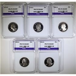 LOT OF 5 PERFECT GEM PROOF DEEP CAMEO ICGA WASHINGTON QUARTERS: 1976-S, 1978-S,
