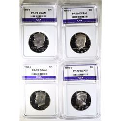 LOT OF 4 PERFECT GEM PROOF DEEP CAMEO ICGA KENNEDY HALF DOLLARS: 1978-S, 1982-S,