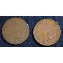INDIAN CENTS: 1866 GOOD & 1884 AU