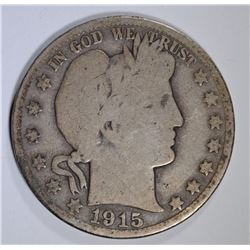 1915 BARBER HALF DOLLAR, G/VG KEY COIN