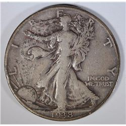 1938-D WALKING LIBERTY HALF DOLLAR, FINE+
