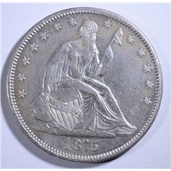 1875 SEATED HALF DOLLAR  AU
