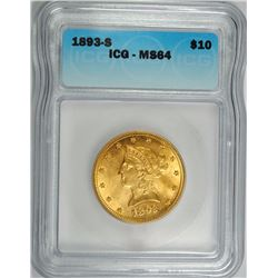 1893-S $10.00 GOLD LIBERTY, ICG MS-64