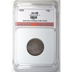 1806 HALF CENT ( SMALL 6 NO STEMS ) AGP AU/BU