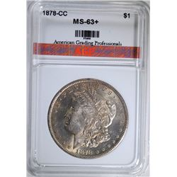 1878-CC MORGAN SILVER DOLLAR, AGP CHOICE BU+