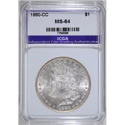 1880-CC MORGAN SILVER DOLLAR, ICGA  GEM BU