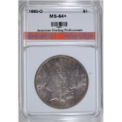 1880-O MORGAN SILVER DOLLAR, AGP CH+/GEM BU  COLOR
