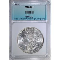 1891 MORGAN SILVER DOLLAR, EMGC CH+/GEM BU