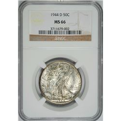 1944 D WALKING LIBERTY HALF DOLLAR NGC MS 66