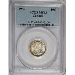 1936 10 CENT CANADA PCGS MS63