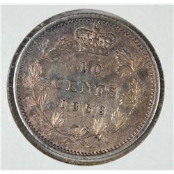 "1858 CANADA TEN CENTS CH.BU  ATTRACTIVE ""OLD TIME"" TONE"
