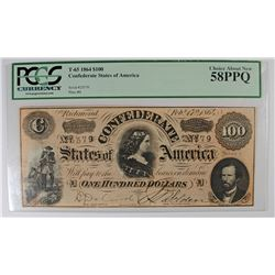 1864 $100 CONFEDERATE STATES OF AMERICA PCGS 58PPQ  FULLY FRAMED