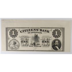 1860s $1 CITIZENS' BANK OF LOUISIANA GEM CU w/SELVAGE ON 3 SIDES
