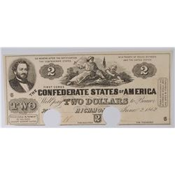 1862 $2 CONFEDERATE STATES OF AMERICA POC VERY SCARCE IN AU CH.AU
