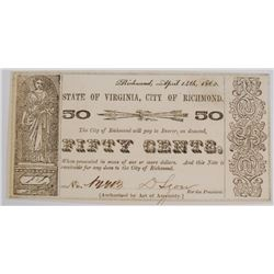 STATE OF VIRGINIA CITY OF RICHMOND FIFTY CENT OBSOLETE NOTE, CH CU CIVIL WAR ERA