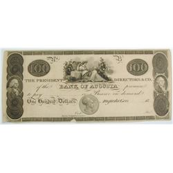 1800'S $100 PRESIDENT DIRECTORS CO,  BANK OF AUGUSTA, CU