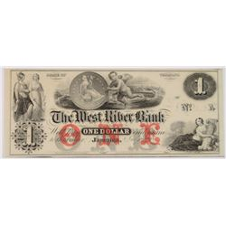 1850'S VERMONT JAMAICA WEST RIVER BANK CHOICE CU $1.00 NOTE