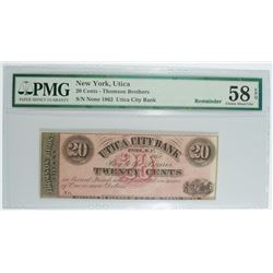 NEW YORK, UTICA 20-CENT REMAINDER NOTE, PMG-58 EPQ