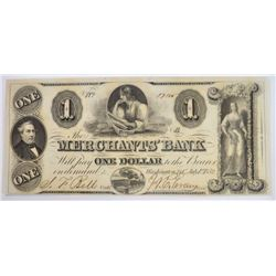 1852 MERCHANTS BANK WASHINGTON D.C. XF
