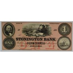 $1.00 STONINGTON BANK, CONNECTICUT, GEM UNC.