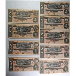 ( 9 ) 1864 $10.00 CS-68 CONFEDERATE NOTES IN SEQUENTIAL ORDER!  SR# 60642-60650!